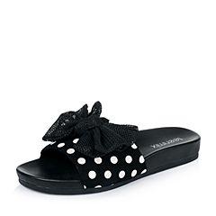 Teenmix/天美意夏季专柜同款黑/白色羊绒皮/网布女拖鞋AM792BT6