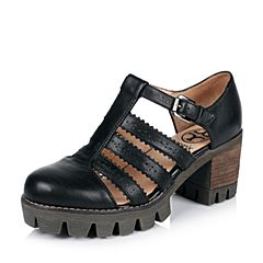 Teenmix/天美意春专柜同款黑色牛皮女凉鞋6E830AK6