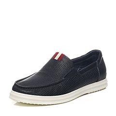 Teenmix/天美意夏季专柜同款蓝色牛皮/织物男休闲鞋1WS0TBM6