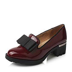 Teenmix/天美意春季专柜同款酒红色漆皮牛皮/织物女单鞋AM37TAQ6