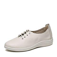 Teenmix/天美意2017春专柜同款白色牛皮女单鞋6DQ29AM7