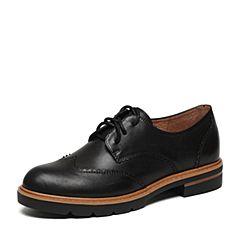 Teenmix/天美意2017春专柜同款黑色牛皮女单鞋6T320AM7