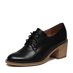 Teenmix/天美意2017春专柜同款黑色牛皮女单鞋6U220AM7