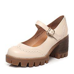 Teenmix/天美意春季专柜同款米白色牛皮女单鞋6E803AQ7