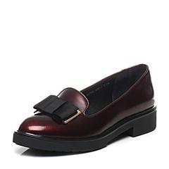 Teenmix/天美意春季专柜同款酒红色光面擦色小牛皮/PU女单鞋6U102AQ7