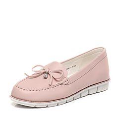 Teenmix/天美意2017春季专柜同款粉色牛皮女单鞋6V202AQ7
