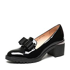 Teenmix/天美意春专柜同款黑色漆皮牛皮女单鞋6V801AQ7
