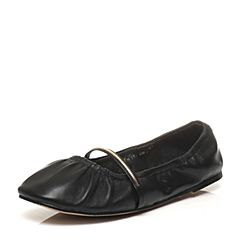Teenmix/天美意2017春季专柜同款黑色绵羊皮一字带手套鞋奶奶鞋女单鞋6W402AQ7