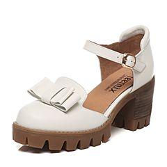 Teenmix/天美意春季专柜同款白色牛皮女凉鞋6E831AK7