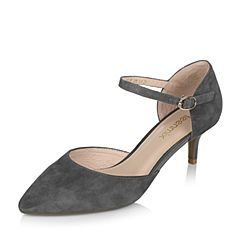 Teenmix/天美意春专柜同款灰色羊绒皮女单鞋AO331AK7