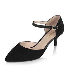 Teenmix/天美意春专柜同款黑色羊绒皮女单鞋AO331AK7