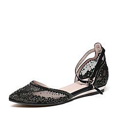 Teenmix/天美意春专柜同款黑色羊绒皮/织物女凉鞋AO551AK7