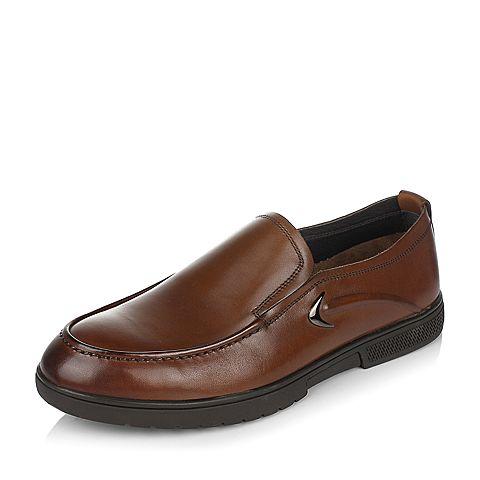 Teenmix/天美意春专柜同款棕色牛皮男休闲鞋2BI0TAM7