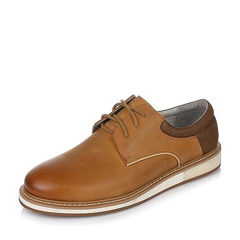 Teenmix/天美意春专柜同款棕色牛皮/织物男休闲鞋2BG0TAM7