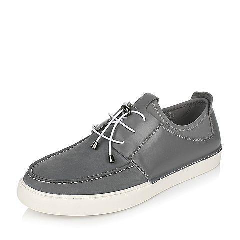 Teenmix/天美意春专柜同款灰色牛皮/织物男休闲鞋2BM0TAM7