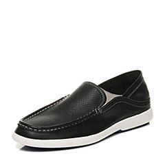 Teenmix/天美意夏专柜同款黑色牛皮商务休闲风乐福鞋男单鞋66F02BM7
