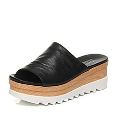 Teenmix/天美意2017夏专柜同款黑色绵羊皮松糕厚底简约休闲女拖鞋6L703BT7