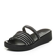 Teenmix/天美意夏专柜同款黑色泳池拖女拖鞋6Z917BT7