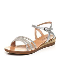 Teenmix/天美意夏专柜同款银/米白色时尚细带女凉鞋6K709BL7