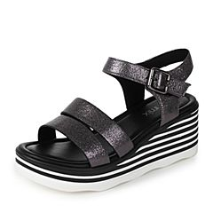 Teenmix/天美意夏专柜同款灰色牛皮时尚坡跟简约女凉鞋AO951BL7