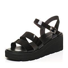 Teenmix/天美意2017夏专柜同款黑色镜面条带简约女凉鞋AO971BL7