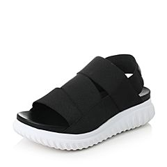 Teenmix/天美意2017夏黑色纺织品时尚帅气运动风女凉鞋16105BL7