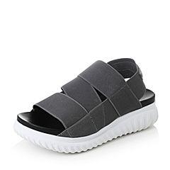 Teenmix/天美意2017夏灰色纺织品时尚帅气运动风女凉鞋16105BL7