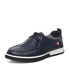 Teenmix/天美意2017夏季专柜同款蓝色软面牛皮时尚舒适系带鞋男休闲鞋BJE02BM7