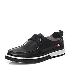 Teenmix/天美意夏季专柜同款黑色软面牛皮时尚舒适系带鞋男休闲鞋BJE02BM7