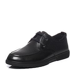 Teenmix/天美意夏季专柜同款黑色牛皮系带鞋男休闲鞋男鞋3CK0TBM7