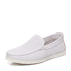 Teenmix/天美意夏专柜同款白色牛皮时尚休闲懒人鞋男鞋2BZ0TBM7