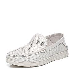 Teenmix/天美意夏专柜同款白色牛皮舒适休闲懒人鞋男休闲鞋3CD0TBM7