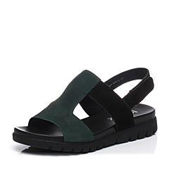 Teenmix/天美意夏专柜同款绿/黑色牛皮时尚撞色舒适平跟女凉鞋AO901BL7