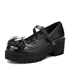 Teenmix/天美意春季黑色牛皮洛丽塔女单鞋皇冠猫的舞会6JP05AQ7