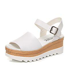 Teenmix/天美意夏专柜同款白色牛皮松糕厚底女凉鞋6L707BL7