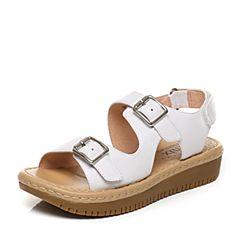 Teenmix/天美意2017夏专柜同款白色牛皮金属扣厚底女凉鞋6X703BL7