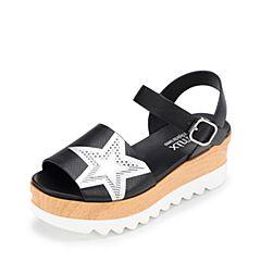 Teenmix/天美意夏黑/银色牛皮变色星星图案帅气卡乐凉鞋女凉鞋6L708BL7