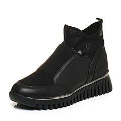 Teenmix/天美意2017冬专柜同款黑/黑灰色牛皮/纺织品印花厚底女短靴CAP40DD7