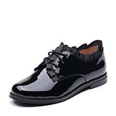 Teenmix/天美意2017秋专柜同款黑色漆牛皮小方跟系带鞋女单鞋6H820CM7