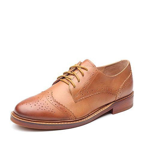 Teenmix/天美意秋专柜同款棕色牛皮英伦风方跟女单鞋CAA20CM7
