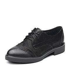 Teenmix/天美意2017秋专柜同款黑色珠光牛皮方跟布洛克鞋女单鞋6U127CM7
