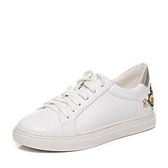 Teenmix/天美意秋专柜同款白/银色牛皮甜美花朵系带鞋女单鞋6U52TCM7