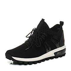 Teenmix/天美意2017秋专柜同款黑色布面厚底运动风女休闲鞋6T926CM7