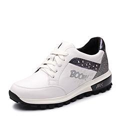 Teenmix/天美意2017秋专柜同款白/银色牛皮厚底运动风女休闲鞋6T925CM7