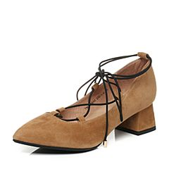 Teenmix/天美意秋棕色羊绒皮时髦尖头优雅粗跟绑带鞋女单鞋6B602CQ7