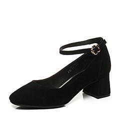 Teenmix/天美意秋黑色羊皮复古时髦优雅粗跟玛丽珍鞋女单鞋2273DCQ7