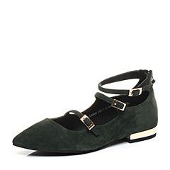 Teenmix/天美意2017秋专柜同款绿色羊绒皮时髦尖头浅口女单鞋CAB06CQ7