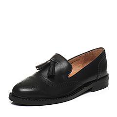 Teenmix/天美意2017秋专柜同款黑色牛皮优雅方跟乐福鞋女单鞋CAA01CQ7