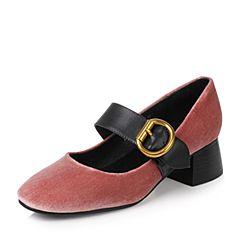 Teenmix/天美意秋粉色绒布/牛皮复古金属扣优雅粗跟玛丽珍鞋女单鞋1181DCQ7