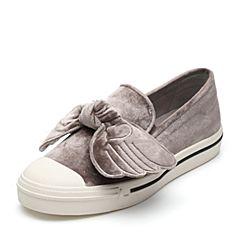 Teenmix/天美意2017专柜同款灰色丝绒麋鹿翅膀乐福鞋女鞋YFZ07CM7炫舞联名款